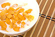 Healthy Breakfast. Bowl With Corn Flakes stock photo