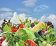 Healthy Food Assortment Against The Blue Sky