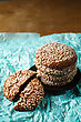 Healthy Fresh Baked Cookies With Sesame On BlueBakery Paper. Close Up stock photography