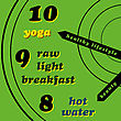 Yoga Healthy Lifestyle - Yoga, Raw Light Breakfast, Hot Water stock illustration