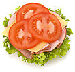 Healthy Open Sandwich With Lettuce, Tomato, Smoked Ham And Cheese Isolated On White Background stock photo