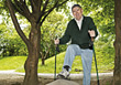 Healthy Senior On Walking Trail stock photo