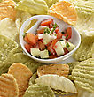 Healthy Vegetable Chips And Homemade Salsa stock image