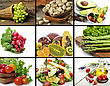 Healthy Vegetables And Fruit Food Collage stock photo