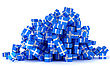 Heap Of Blue Gift Boxes With Presents Over White