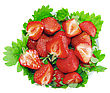 Heap Of Fresh Strawberries In Glass Bowl On Green Foliage . Isolated