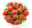 Heap Of Fresh Strawberries In Glass Bowl . Isolated