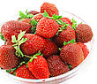 Heap Of Fresh Strawberries In Glass Bowl . Isolated stock photo