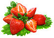 Pulp Heap Of Fresh Strawberries On Green Foliage . Isolated stock photo