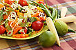Heap Of Nachos With Vegetables On Green Plate
