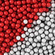 Heap Of Red And White Balls, Three-dimensional Computer Graphic.