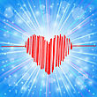 Heart Icon On Abstract Blue Background. Day Of Heart Symbol