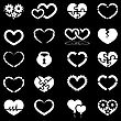 Heart Icon Set Illustration On Black Background