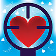 Hunt Heart In Rifle Sight. Abstract Illustration. stock illustration
