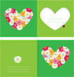 Heart Is Made Of Daisies On A Green Background. Valentines Day Card