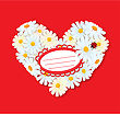 Heart Is Made Of Daisies On A Red Background. Valentines Day Card