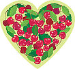 Heart Is Made By Sweet Cherries - Illustration For Valentine`s Day