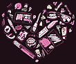 Heart Of Makeup Products Set. Cosmetics. Hand Drawn Vector Illustration