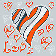 Heart In Red And Blue Hand Drawn Illustration Vector Eps. Valentine Love Concept For Post Card Or Wedding Invitation