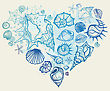 Heart Of The Shells. Hand Drawn Vector Illustration stock vector