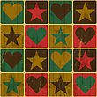 Hearts And Stars, Pop-Art Styled Poster, Vector