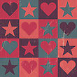 Hearts And Stars Seamless Pattern Pink, Vector