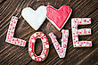 Decor Hearts And The Word Love Of Cookies For The Holiday Valentine's Day stock image
