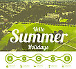 Hello Summer Holidays. Vector Illustration With Green Grass Background. Salzburg, Austria View From Above