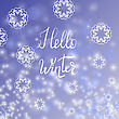 Hello Winter Typographic Poster. Hand Drawn Phrase. Lettering On Blue Sky Background