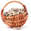 Herbal Drug Capsules In Wicker Basket Isolated On White Background Cutout. Alternative Medicine Concept stock photography