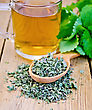 Herbal Tea In Glass Mug, Dry Mint Leaves On A Spoon, Fresh Mint Leaves On The Background Of Wooden Boards