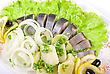 Herring With Potato And Fresh Vegetables Closeup stock photography