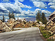 High Altitude Asphalt Road In Mountain stock photo