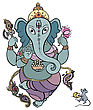 Yoga Hindu God Ganesha. Vector Hand Drawn Illustration stock illustration