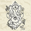 Hindu God Ganesha. Vector Hand Drawn Illustration. Crumped Paper Background