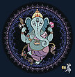 Hindu God Ganesha. Vector Hand Drawn Illustration