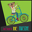 Hipster Poster With Nerd Dog Riding Bike, Vector Illustration