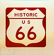 Historic US Route 66 Vintage Sign stock image