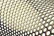 Holes In Golden Metal, Perforated Cylindrical Pattern