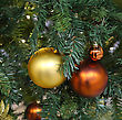 Holiday Decorations On Christmas Tree stock image