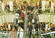 Holiday Shopping Crowd On Mall Escalator stock photo