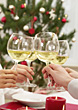 Holiday Toast with Wine Glasses stock photography