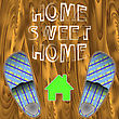 Home Slippers Poster On Wood Planks Background. Grange Positive Quote. Sweet Home