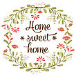 "Home Sweet Home"" Background With Delicate Watercolor Flowers, Vector Format"