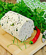 Homemade Cheese With Herbs And Spices, Knife, Parsley, Rosemary, Red Chili Pepper, Napkin On A Wooden Board