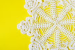 Homemade White Decorative Napkin On Yellow Background stock photo