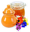 Honey In A Clay Jug And A Glass Jar With Flowers Isolated On White Background stock photography