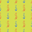 Hookah Silhouette Isolated On Yellow Background. Seamless Pattern