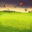 Hot Air Balloons Over Green Summer Meadow, Abstract Travel Backgrounds
