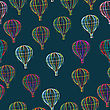 Hot Air Balloons Seamless Pattern, Abstract Art.